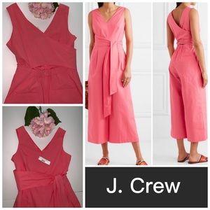 NWT J Crew Belted Poplin Wide Leg Jumpsuit size 8